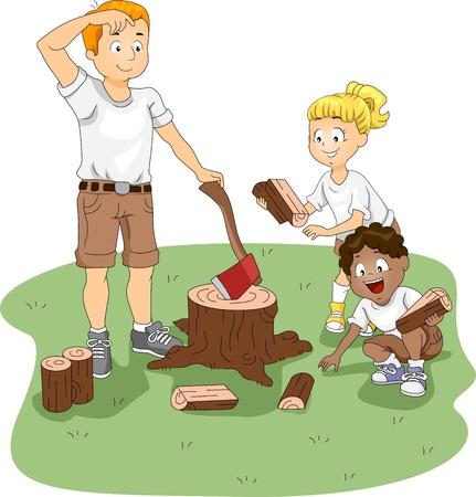 axe girl: Illustration of Kids Gathering Firewood Stock Photo