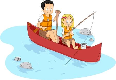 canoa: Ilustraci�n de una pesca Kid con su asesor de maestro