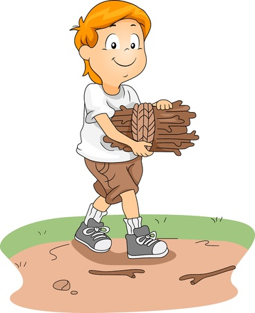 Illustration of a Kid Gathering Firewood Stock Illustration - 10560196
