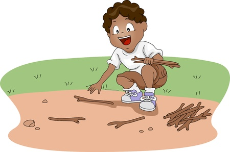 firewood: Illustration of a Kid Gathering Firewood