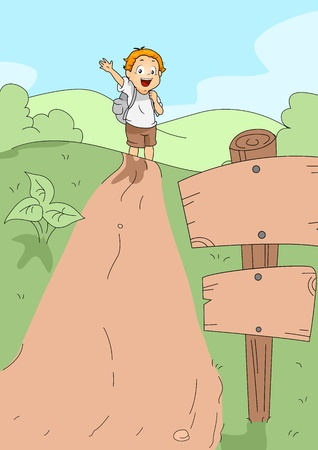 Illustration of a Kid Hiking illustration