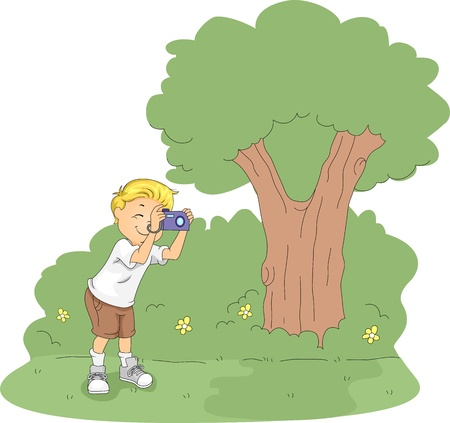 taking picture: Illustration of a Kid Taking Pictures in a Camp