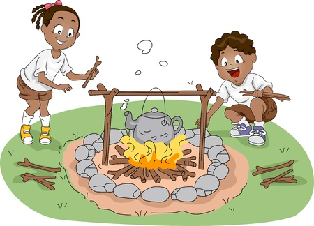 Illustration of Campers / Siblings Boiling Water Stock Illustration - 10560234
