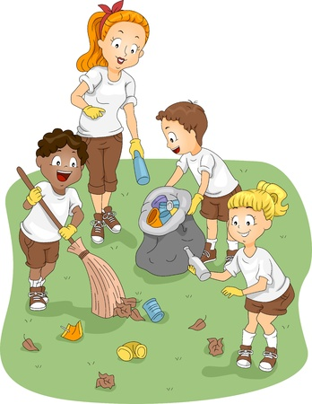 thrash: Illustration of Kids Cleaning a Camp