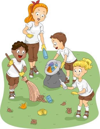 ni�os reciclando: Ilustraci�n de limpieza de un campamento de ni�os