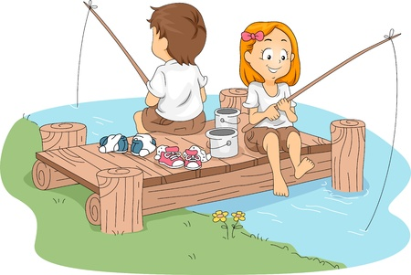 Illustration of Kids Fishing illustration
