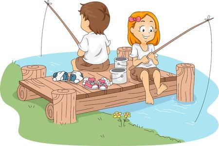 Illustration of Kids Fishing Stock Illustration - 10560216