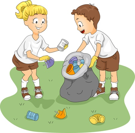 niños reciclando: Ilustración de niños limpieza de un campo