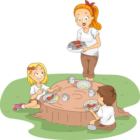 family eating: Illustration of Kids Eating Outside Stock Photo