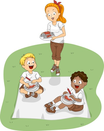 attendee: Illustration of Kids Eating Outdoors
