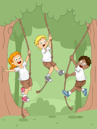 campsite: Illustration of Kids Swinging with Ropes