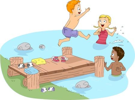 swim boy: Illustration of Kids Swimming