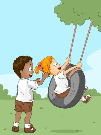 Illustration of Kids Playing with a Swing Stock Illustration - 10560191