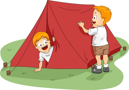 camping tent: Illustration of Kids Setting Up a Tent