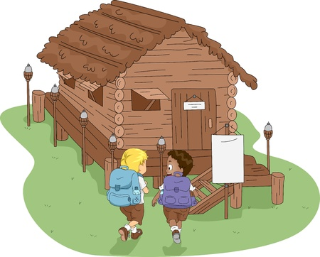 Illustration of Kids Heading to a Log Cabin illustration