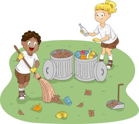 niños reciclando: Ilustración de limpieza de un campamento de niños