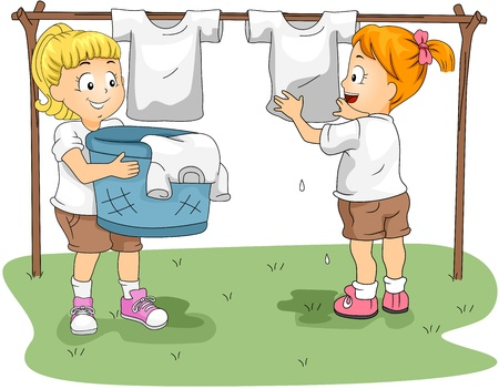duties: Illustration of Kids Hanging Clothes to Dry