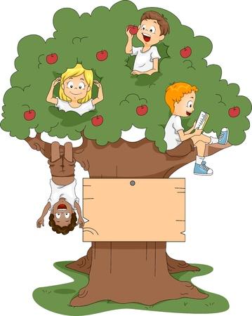 arbol de manzanas: Ilustración de niños jugando en un árbol Foto de archivo