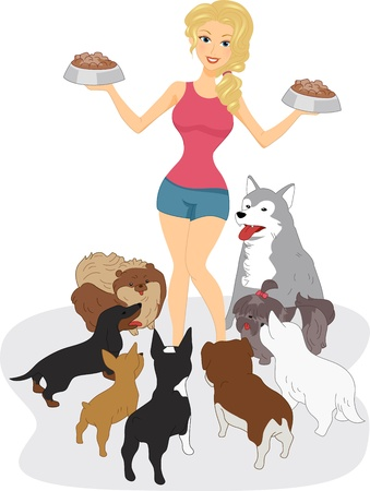 animal feed: Illustration of a Woman Surrounded by Dogs