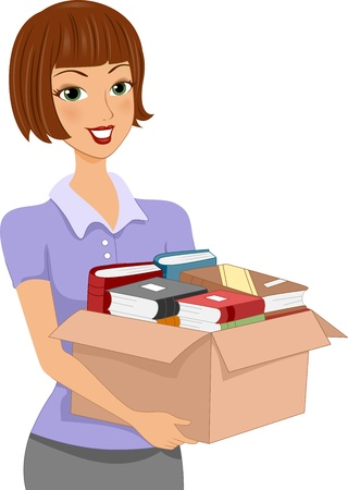 donation drive: Illustration of a Girl Carrying a Donation Box Full of Books