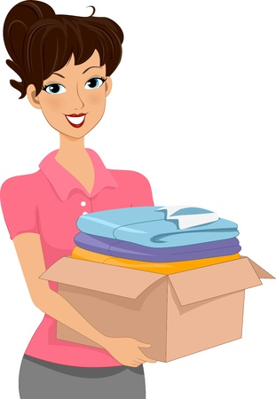 clothes cartoon: Illustration of a Woman Carrying a Donation Box Full of Clothes