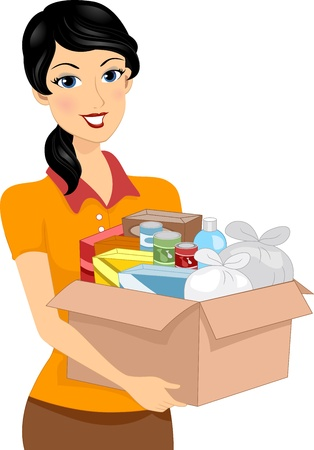 canned goods: Illustration of a Girl Carrying a Donation Box Full of Goods