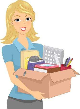 articulos oficina: Ilustración de una muchacha que lleva una caja de donaciones o caja llena de material de oficina