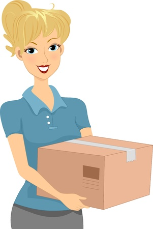 donation drive: Illustration of a Girl Carrying a Package  Donation Box Stock Photo