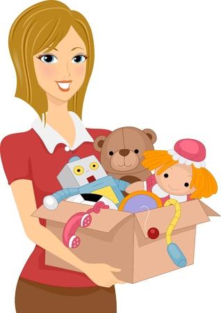 juguetes: Ilustraci�n de una ni�a con una caja llena de juguetes para la donaci�n o de almacenamiento
