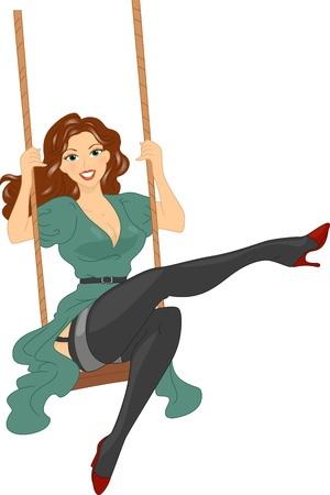 sexy stockings: Illustration of a Girl Sitting on a Swing Stock Photo