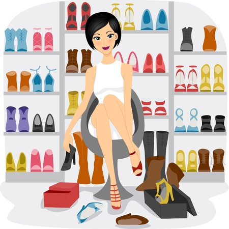 fitting: Illustration of a Girl Fitting Shoes in her Shoe Closet or a Shoe store Stock Photo