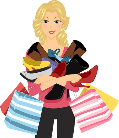 Illustration of a Girl Carrying a Pile of Shoes Stock Illustration - 10610240