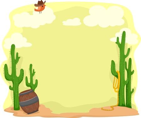 birds desert: Background Illustration Set in a Desert