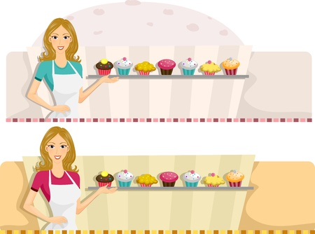 female chef: Illustration of a Web Banner with a Patisserie Design