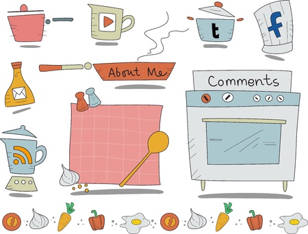 Illustration of Web Icons with a Cooking Theme illustration