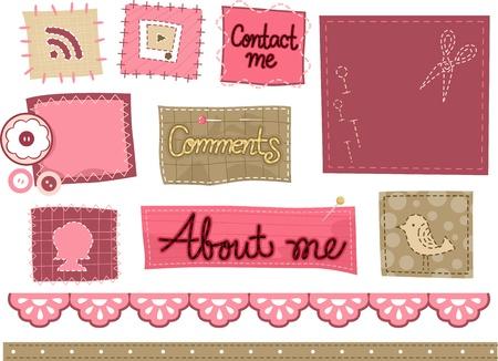 Illustration of Web Icons with Stitch Designs illustration