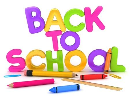 pre school: 3D Illustration of Back to School Items