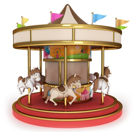 3D Illustration of a Carousel illustration