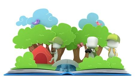 3D Illustration of Kids Camping on Popup Book Stock Illustration - 10610212