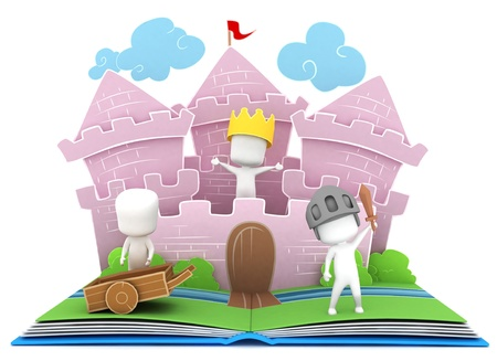 stories: 3D Illustration of Kids Playing in a Castle on a Popup Book