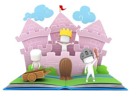 3D-Illustration von Kinder spielen in einem Schloss auf einem Popup Buch Standard-Bild