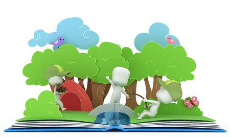 storybook: 3D Illustration of Kids Camping on Popup Book