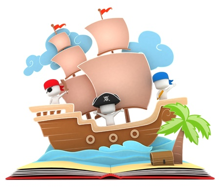 adventure story: 3D Illustration of Kids Playing in a Pirate Ship on a Popup Book Stock Photo