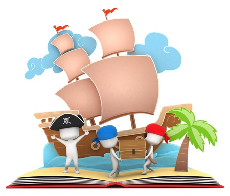 adventure story: 3D Illustration of Pirate Kids Carrying a Treasure Chest on Popup Book