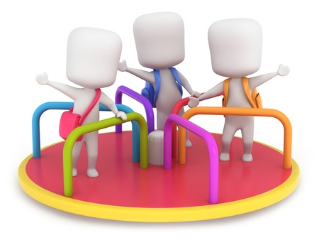 roundabout: 3D Illustration of Kids Playing in a Merry Go Round Stock Photo
