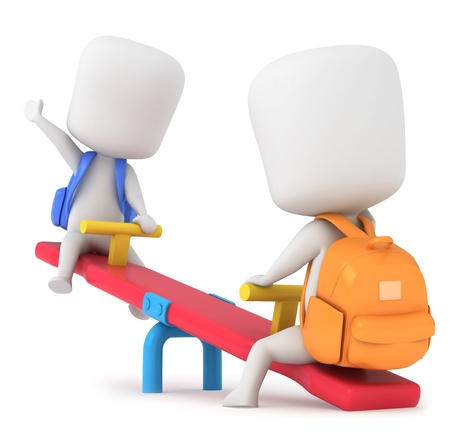 children playing cartoon: 3D Illustration of Kids Playing Seesaw