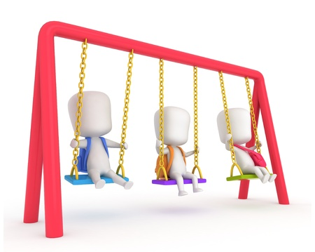 playmates: 3D Illustration of Kids Playing with Swings