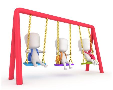 playmates: Ilustraci�n 3D de ni�os jugando con columpios