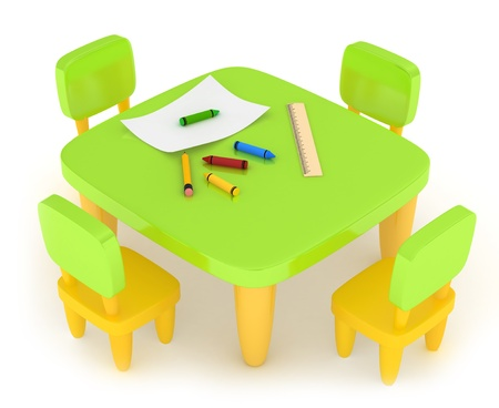 schooler: 3D Illustration of a Kiddie Table with Drawing Materials on it