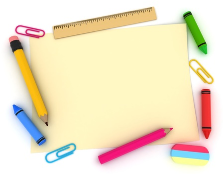 pre school: 3D Illustration of a Blank Note for Background